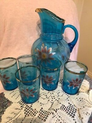 vintage hand painted blue glass pitcher and glasses