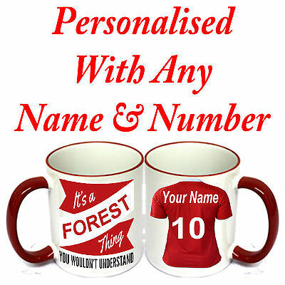 PERSONALISED  FOOTBALL SHIRT MUG FOR ALL Nottingham Forest FOOTBALL FANS.