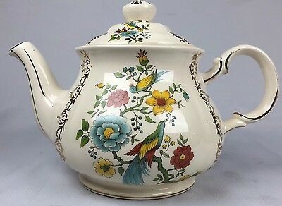 Vintage Sadler Teapot made in England gold trim with numbered 3640 PR Peacock