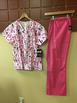 NEW Pink Print Scrubs Set With Wink Large Top & Cherokee Large Pants NWT