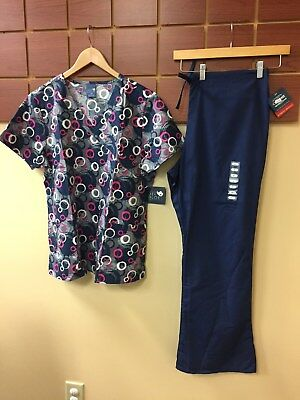 NEW Navy Blue Print Scrubs Set With Wink Large Top & Cherokee Large Pants NWT