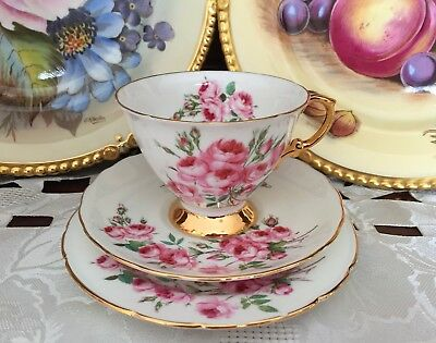 Vintage Hammersley & Co Made In England Bone China Rose & Gold Trio C1939+