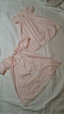 Vintage Infant Nightgown and Peignoir Robe Set Pink Lace 6 - 9 Months