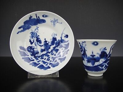 Very Fine Chinese Porcelain B/W Cup&Saucer With Figueres.19th C.Daoguang Marked.