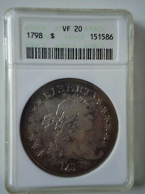 1798 $1 ANACS 20 VF (Large Eagle) Draped Bust Silver Dollar