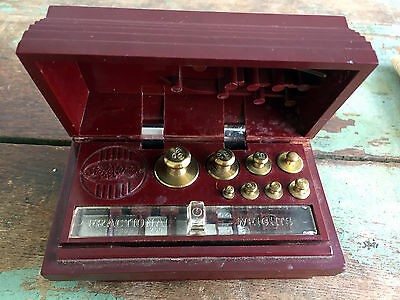 Vintage OHAUS Scale Sto-A-Weigh Calibration Weight Set Class-P-Metric