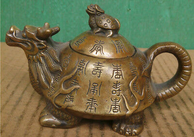 YPGW  Brass wine pot flagon Dragon turtle pot carved Chinese letters & sign