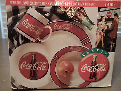 Coca Cola Dinnerware Plate Bowl Cup & Plate Service of 4 /16 Piece Set Stoneware
