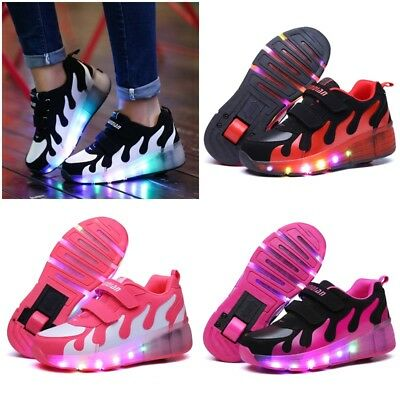 LED Shoes Retractable Wheel Light Up Sneakers Roller Skate Shoes Unisex Trainers