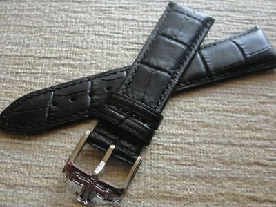 22mm Black Leather Strap W/Silver New Tang Buckle For Jaeger Le Coultre Watch