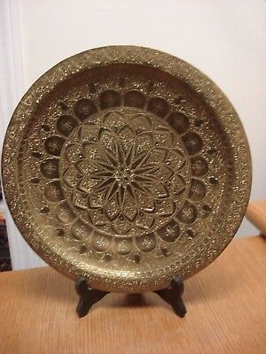 """Vintage Arabic HIGH DETAIL Etched Solid Brass 11.75"""" Tray Plate Islamic SIGNED!"""