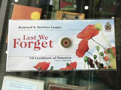 2012 $2 RSL Poppy 'Lest We Forget' Remembrance Day Unc Coin Card
