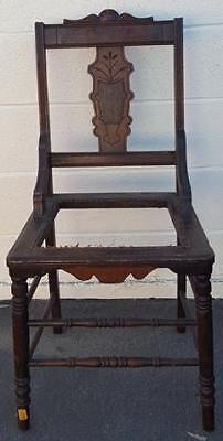Wonderful Antique Straight Back Side Chair - BEAUTIFUL CARVED SPLAT - NEEDS SEAT