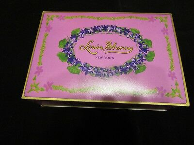 Vintage Louis Sherry 3 Lb Advertising Candy Tin Large Hinged Colorful Purple