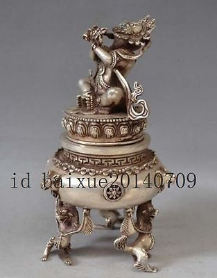 Chinese Vintage Brass Handwork Hammered God Of Wealth Collectable Statue
