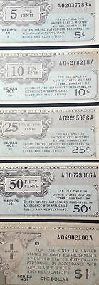 Series 461 USA 5, 10, 25, 50c and $ MPC Military Payment Certificate Set