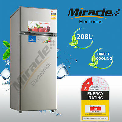 Brand New Miracle 208L Top Mount Freezer Fridge Stainless Steel Outlook