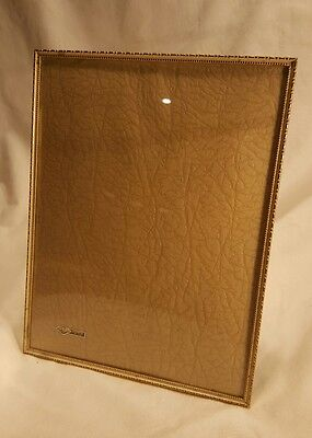 """Vintage Gold Tone Metal or Brass Picture Frame 8 x 10"""" Vertical Back & Stand"""