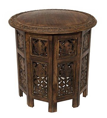 Solid Wood Antique Brown Hand Carved Accent Round Coffee Table Home Furniture