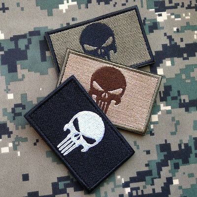 3Pcs Punisher Skull Navy Militray Tactical Hook Morale Patch Embroidered Badge