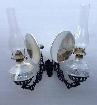 Antique Double Swivel Cast Iron Wall Bracket Holder Mercury Reflector Oil Lamps