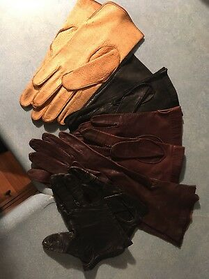 Vintage Pair Of 5 Leather And Kid Leather Womens Gloves