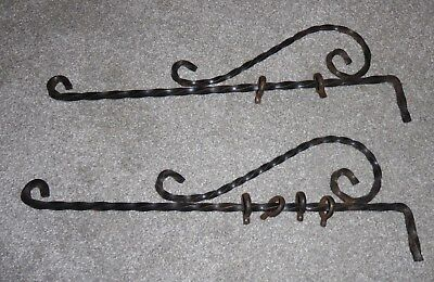 Vintage Pair/2 Swing Arm Curtain Rod Drapery Hand Twisted Wrought Iron Craftsman
