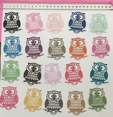 15 x 'Owl' Die Cuts Cardstock Limited Stock Colours As Shown Owls Birds Bird