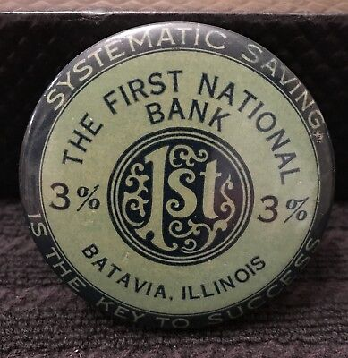 Vintage HTF Celluloid Coin Bank First National Bank Batavia Illinois Patent 1922