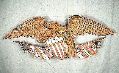 ANTIQUE EARLY 20th CENTURY FOLK ART CARVED AND PAINTED BELLAMY STYLE WOOD EAGLE