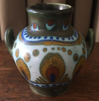 "Vintage Miniature Gouda Vase w/ Handles, 3 1/4"" Tall - Green, Cobalt, Gold, Red"