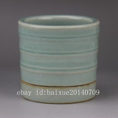 China old hand-carved porcelain bean green glaze bamboo joint gyrata flowerpot