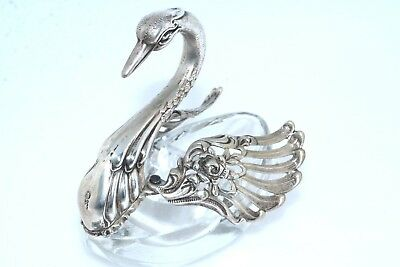 Crystal & Sterling Silver Swan Ring Holder Snuff Pill Trinket Box Pin Holder