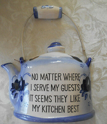 VINTAGE Norcrest Kitchen Teapot/Tea Kettle BLUE Wall Pocket/Planter Japan P-189
