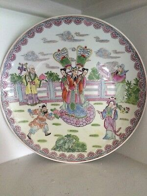 Antique Chinese Porcelain Plate Charger Famille Rose