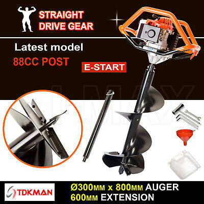 88CC TDKMAN Petrol Post Hole Digger Earth Auger 300mm Drill 600mm Ex Fence Borer