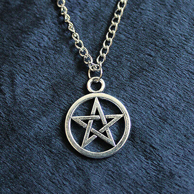 NEW Silver Witch Pentacle Star Circle Pentagram Pendant Necklace Chain Charm