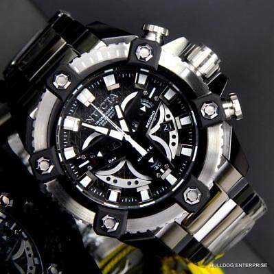 Invicta Coalition Forces Grand Octane Black Silver Steel 58mm Swiss Watch New