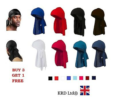 Men's DURAG Bandanna Sports Du Rag Head Scarf Rap Tie Down Band Biker Cap B3