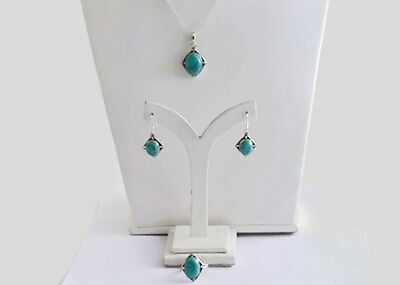 Turquoise Gemstone 925 Sterling Silver Jewelry Set of Ring,Pendant &Earring