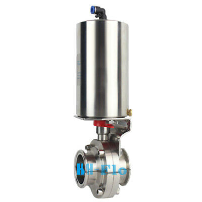 """1-1/2"""" Tri Clamp Sanitary Butterfly Valve With Pneumatic Actuator SUS304 Clamp"""