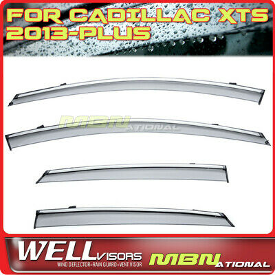 WellVisors Replacement for 2013-Present Cadillac XTS 4Dr Sedan Clip-ON Chrome Trim Smoke Tinted Side Rain Guard Window Visors Deflectors 3-847CA002