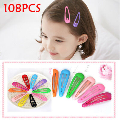 AU 108pcs Wholesale Bulk Girls Baby Kids Hair Clips Snap Slides Close Hairpin W