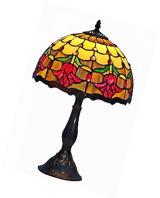 Amora Lighting AM1094TL12 Tiffany Style Stained Glass Table Lamp Tulip Flower De