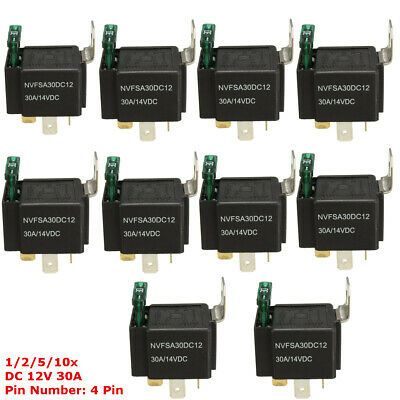 2/5/10x 12V 30A Car 4-Pin Normally Open Contacts Fused Relay On/Off With Bracket