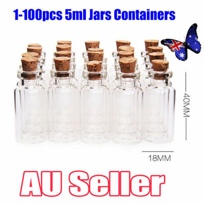 1-100Pcs Clear Mini Small Cork Stopper Tiny Glass Vial Jars Containers Bottle BK
