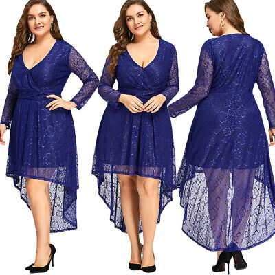Plus Size Ladies Maxi Lace Bridesmaid Wedding Dress Formal ball gown Party Blue