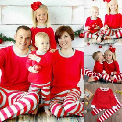 Family Christmas Pajamas Set Mom Dad Kid Stripe Sleepwear Nightwear Pjs LOT BU