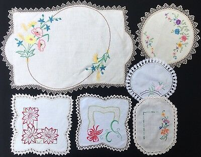 6x Vintage Hand Embroidered Doilies - Bulk Lot - Display Or Craft Use