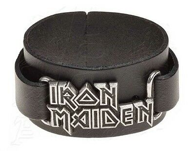 IRON MAIDEN Wrist strap Alchemy Rocks Pewter + Leather Metal Official Wristband